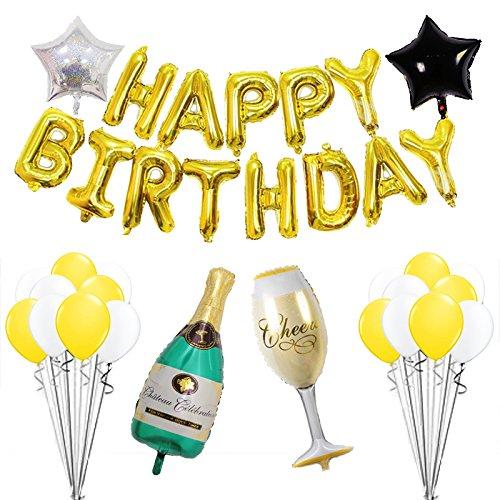 Happy Birthday Banner Champagne Bottle 01