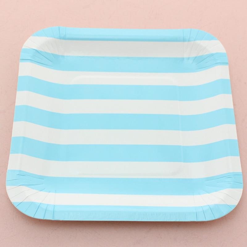 02 Suqare Stripe Paper Plate 2905C