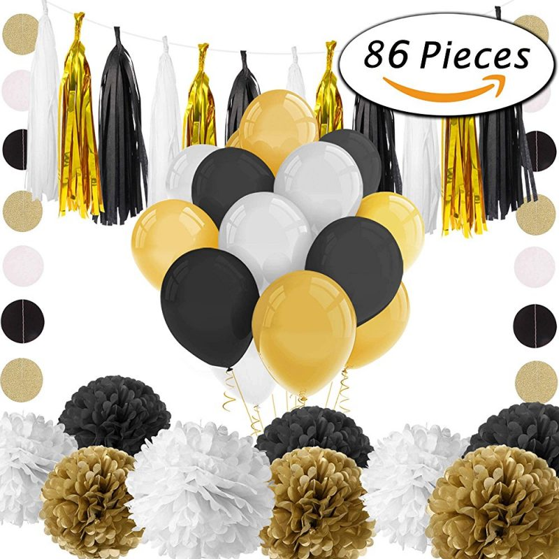 86 Pcs Black and Gold Party Decorations01