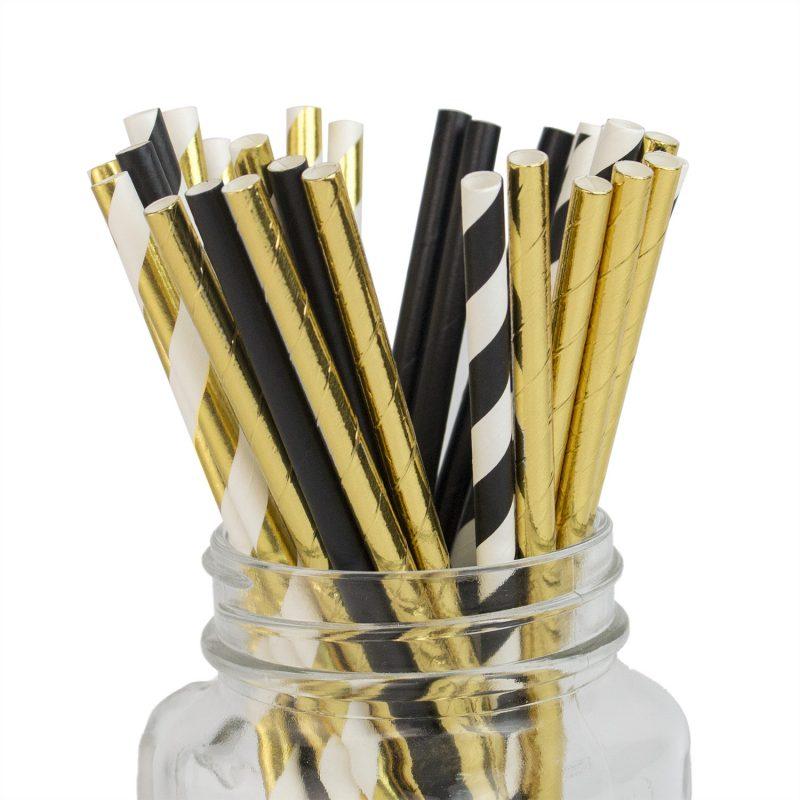 Biodegradable Gold Paper Straws Bulk Metallic Foil Straws
