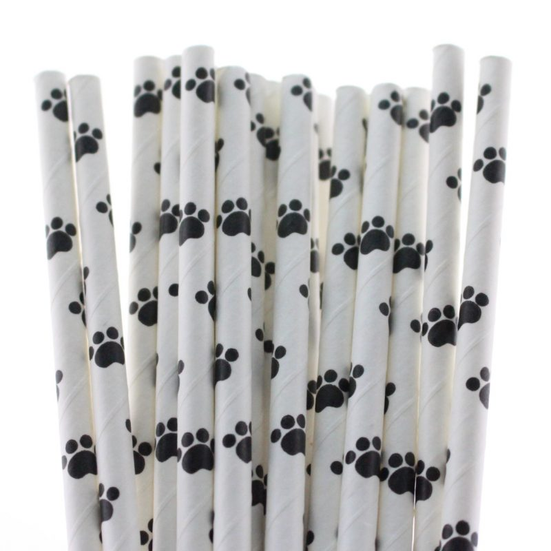 142 Mixed Paper Straws-PAW PRINT
